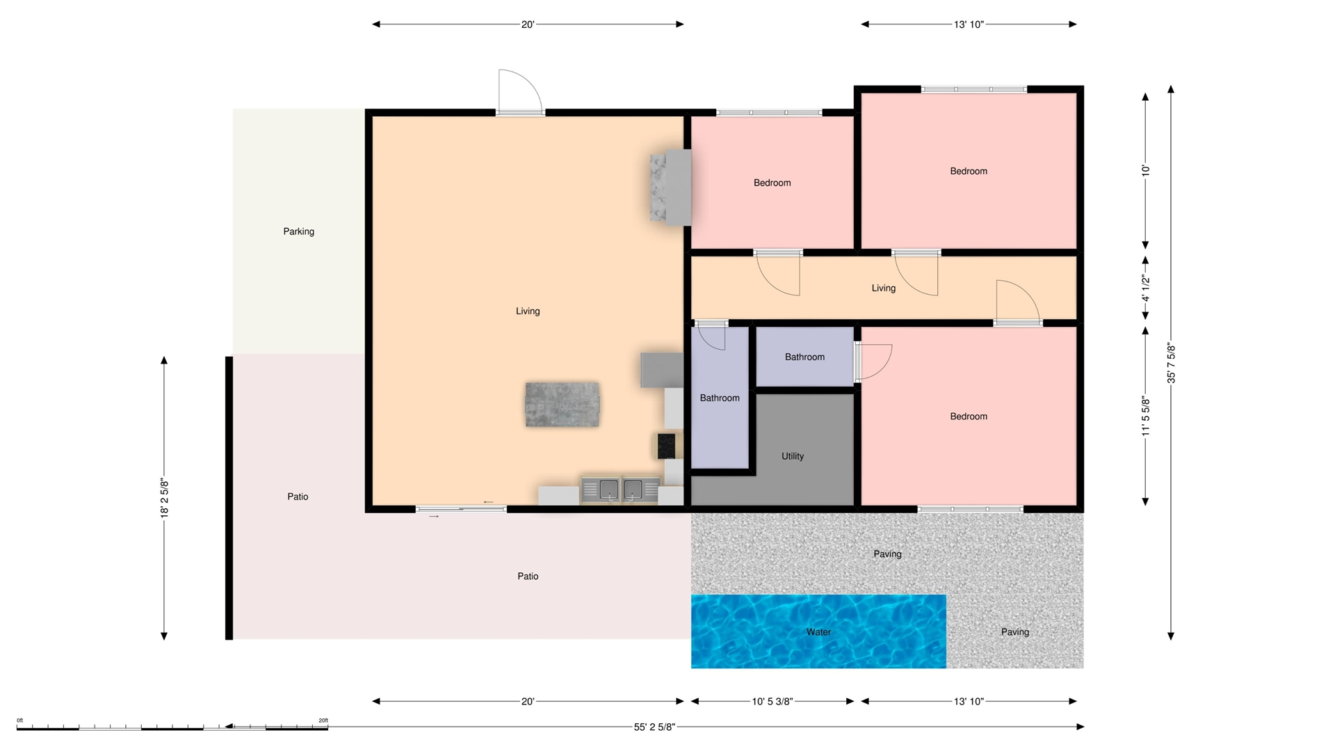 Floor Plan for Hook, Wine & Sinker Waterfront Single Family Pool Home